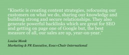 Green box with quote in white text, from Andy Oades of Evac+chair about the success of a communications strategy supplied by Kinetic PR