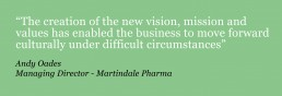 Green box with quote in white text, from Andy Oades of Martindale Pharma about the success of a communications strategy supplied by Kinetic PR