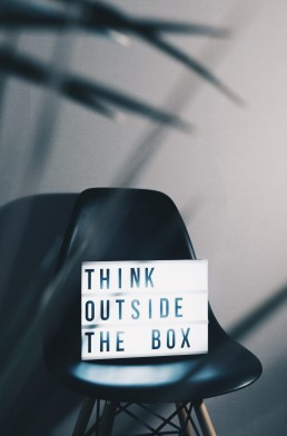 think outside the box message on lightbox